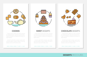 Desserts and Sweets Food Business Brochures. Linear Thin Vector Icons with Cake and Cupcake