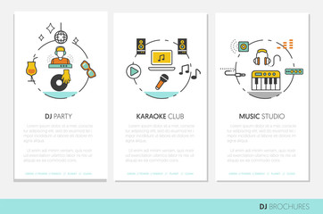 DJ Music Party Linear Business Brochures. Thin Line Vector Icons Set with Musical Instruments
