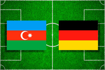 Flags Azerbaijan - Germany on the football field. 2018 football qualifiers