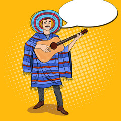 Pop Art Mariachi Mexican Man in Poncho and Sombrero Playing Guitar. Vector illustration