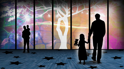 I will show you how beautiful the world is dad and child silhouette art photo manipulation