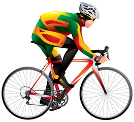 Bicycle racer 4 realistic vector illustration, cycle race derby sport series