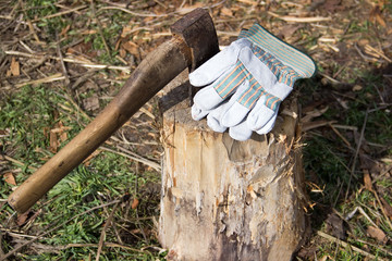 Old ax and old gloves on a stump.