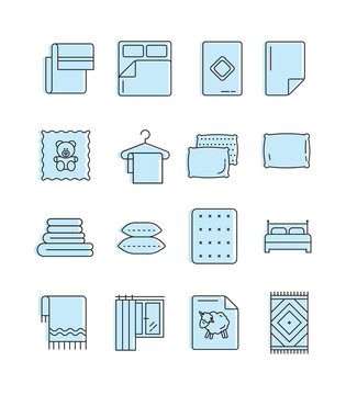 Outline set of linen icons. Bed elements