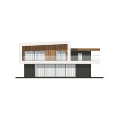 Vector hi tech house facade. House in minimalist style.