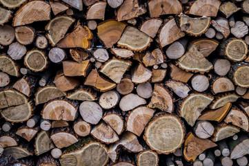 Запас дров для печного отопление