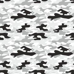 Camouflage. Monochrome vector seamless pattern.