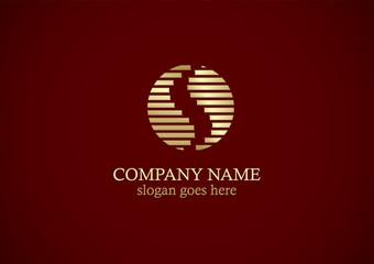 gold stripe round letter s logo