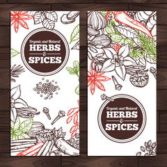 Herbs And Spices Design. Vertical Banners