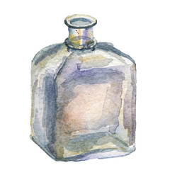 watercolor illustration with glass bottle