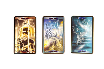 Tarot cards on white background. Quantum tarot deck. Esoteric background.