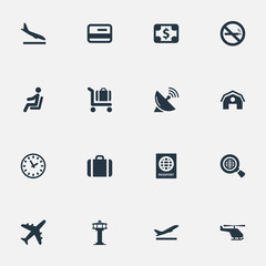 Set Of 16 Simple Transportation Icons. Can Be Found Such Elements As Alighting Plane, Seat, Flight Control Tower And Other.