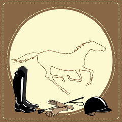 Equine riding tack tools in the leather frame and galloping horse. Horse sport riding gear. Boots, whip, helmet, gloves. Cartoon hand drawing vector background.