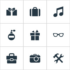 Set Of 9 Simple Instrument Icons. Can Be Found Such Elements As Briefcase, Gift, Digital Camera And Other.