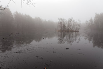Fog on a icy lake in sweden