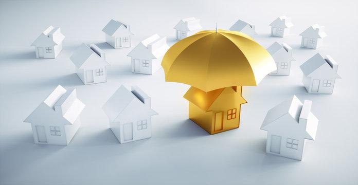 Goldenes Haus mit Schirm