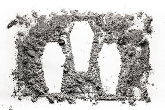 Three cascet symbol made in ash, dust, as mas murder, crime, war, cemetery, victim, graveyard, genocide, massacre concept