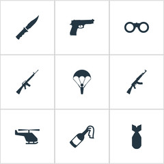 Set Of 9 Simple Battle Icons. Can Be Found Such Elements As Molotov, Field Glasses, Nuke And Other.