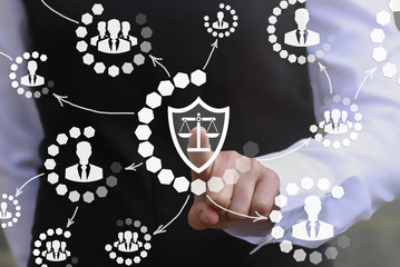 Justice and law business security people network web concept. Man touched shield scales icon on virtual screen. Judicial balance sign, safety teamwork, judge internet, social protection technology