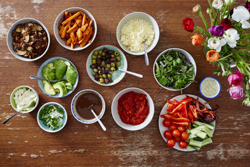variety of salads in bowl organic fresh food on wooden table