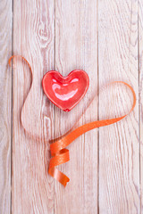 Heart shaped valentine gift with ribbon
