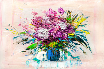 Oil painting - abstract bouquet of spring flowers.