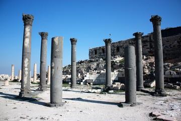 Columns of octogonal church at church terrace in Gadara Umm Qais in Jordan, Middle East