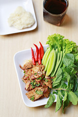 Roasted pork spicy salad of Thai foods style.