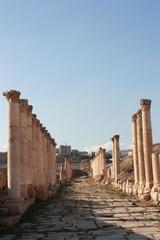 Decumanus in Jerash in Jordan, Middle East