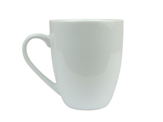 White fine porcelain cup on white background