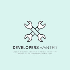 We are Hiring and Looking for Interns and Young Developers! Vector Icon Style Illustration Logo Element