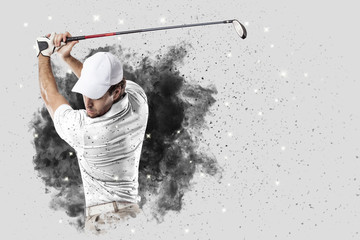 Printed roller blinds Golf Golf Player coming out of a blast of smoke