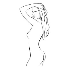 side view female sensual stylized half body contour vector illustration