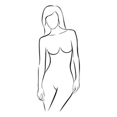 front view female stylized body contour vector illustration