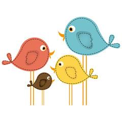 colorful cute cartoon birds set vector illustration