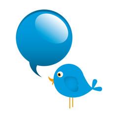 blue cute cartoon bird animal icon with dialog bubble icon vector illustration