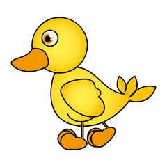 caricature yellow duck side view animal icon vector illustration