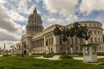 National Capitol during renovation in Havana Cuba. Havana is the largest city in Cuba and its Old Town is a UNESCO World Heritage Site.