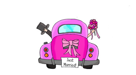 Just Married - Couple in pink car