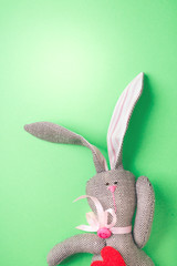 Easter bunny on a green background. Rabbit. Easter ideas. Easter eggs. Space for text.