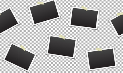 Vector seamless pattern with photo frames on the transparent background.