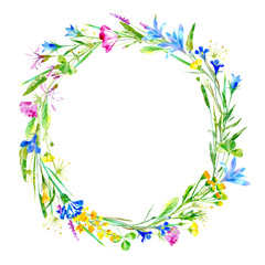 Wreath of a cornflower, bluebell, herbs, tansy, heather floral. Garland of a meadow herbs.Watercolor hand drawn illustration.