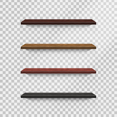 Vector collection of realistic wooden shelves on the transparent background.