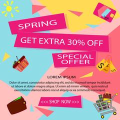 Spring sale Discount background for the online store, shop, promotional leaflet, promotion, poster, banner. Vector