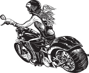An woman riding motorcycle. An hand drawn vector. Freehand drawing on white, isolated.