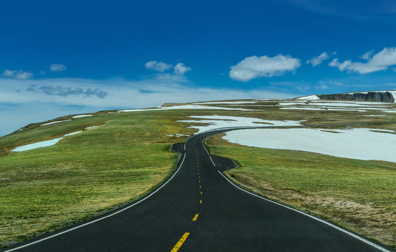 Highway on Rocky Mountain National Park at Loveland Pass Colorado
