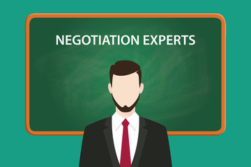 negotiation experts white text illustration with a beard man wearing black suit standing in front of green chalk board