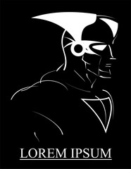 super hero, white lines over the black background