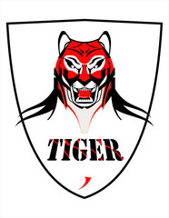 tiger, tiger head mascot on shield.