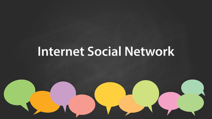 internet social network white text illustration with colourful empty callouts and black background